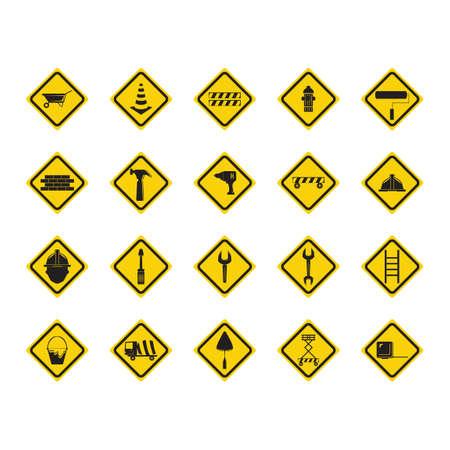 ladder safety: Set of construction sign boards