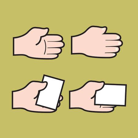 hand holding paper: Set di mano che tiene icone di carta