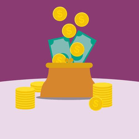 클러치: 지갑에 돈의 플랫 디자인 일러스트