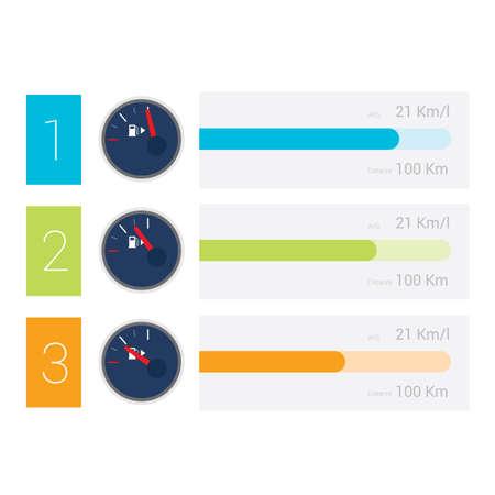 fuel gauge: Infographic of fuel gauge