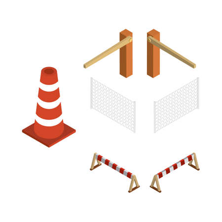 barricade: Isometric barricade equipment Illustration