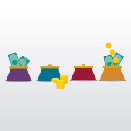 coin purses: Flat design of money in the bag Illustration