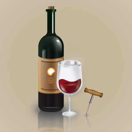 Wine bottle glass and corkscrew