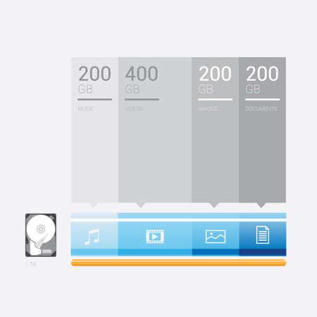 gigabytes: Infographic of hard disk Illustration