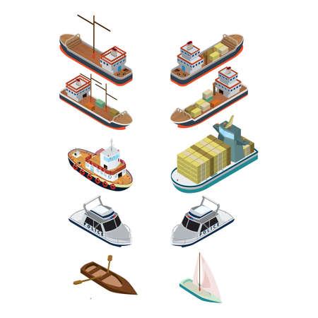 Isometric ships Illustration