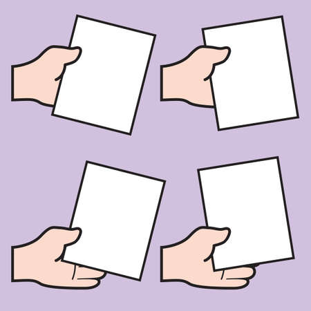 hand holding paper: Set of hand holding papers