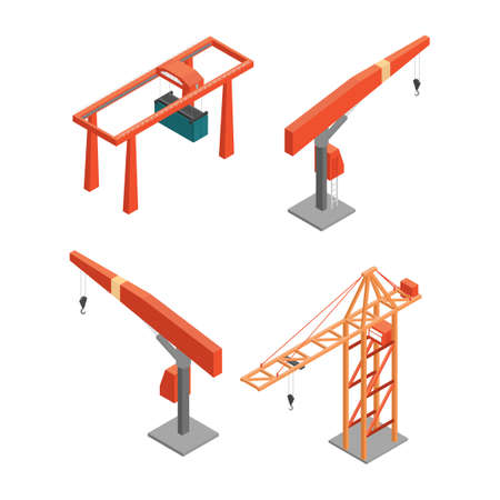 to unload: Isometric cranes Illustration