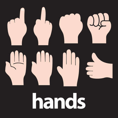 thumbsup: Set of hand gesture icons Illustration