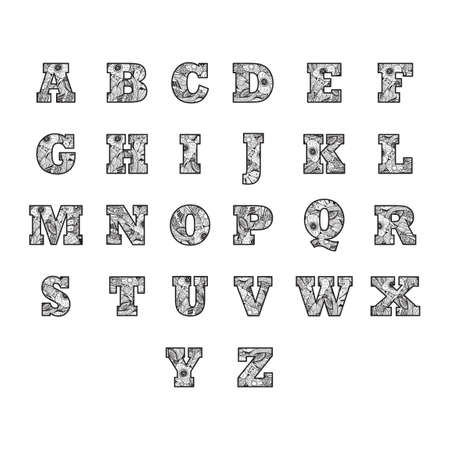 u k: alphabet set in decorative style Illustration