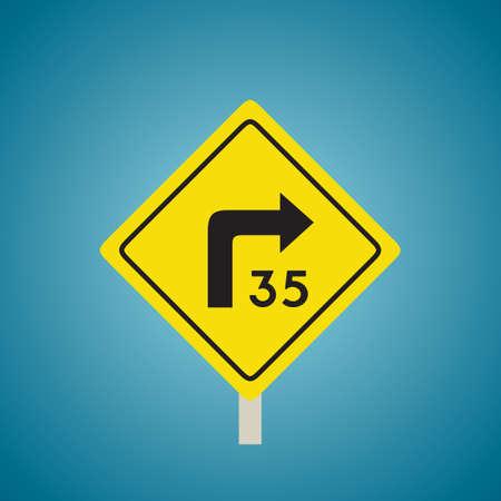 advisory: Right turn with advisory speed sign