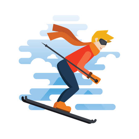 sportsmen: Man skiing