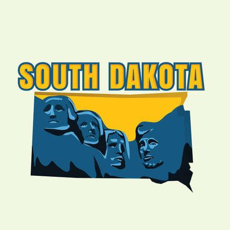 south dakota: South dakota map Illustration