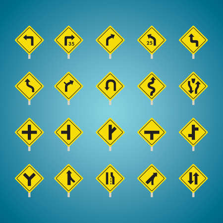 offset angle: Set of american road sign icons