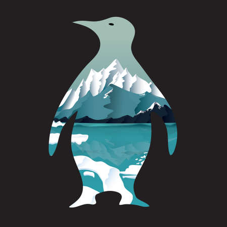 double exposure: Double exposure penguin Illustration