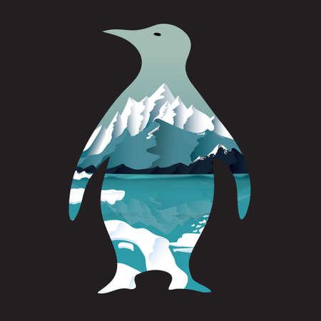 exposición: Pingüino de la exposición doble Vectores