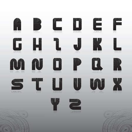 e u: alphabet set in decorative style Illustration