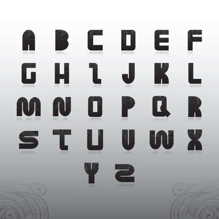 s c u b a: alphabet set in decorative style Illustration