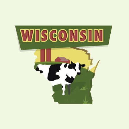 wisconsin: Wisconsin map Illustration
