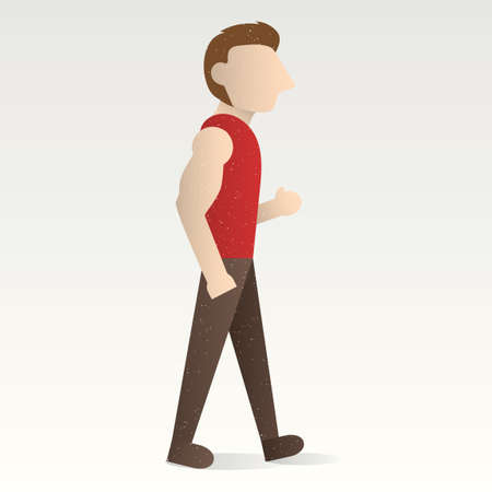 hand in pocket: Man walking with hand in his pocket
