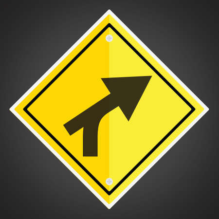 intersection: Right curve out intersection warning Illustration