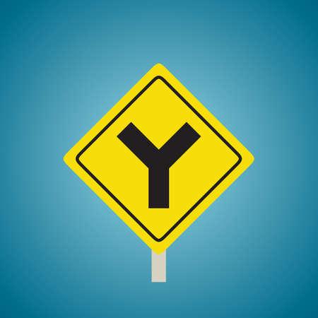 slow lane: Y roads sign