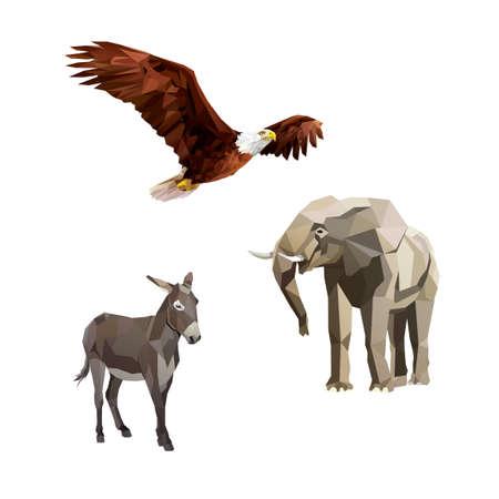 白頭鷲、ロバと象  イラスト・ベクター素材