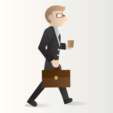 hurrying: Businessman holding briefcase and cup