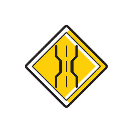 narrow: Narrow bridge sign Illustration