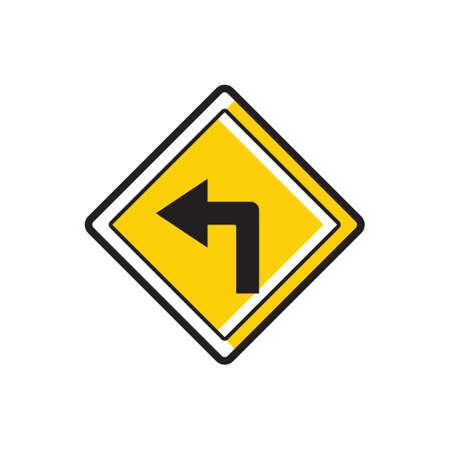 left: Turn left sign Illustration