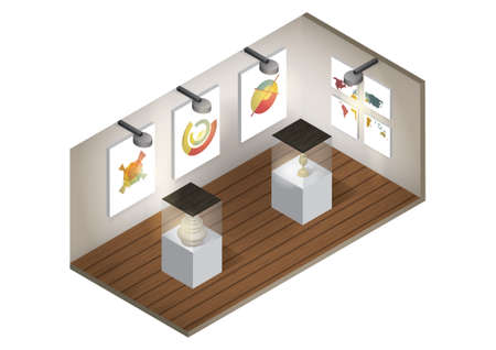 art gallery interior: Isometric art gallery interior