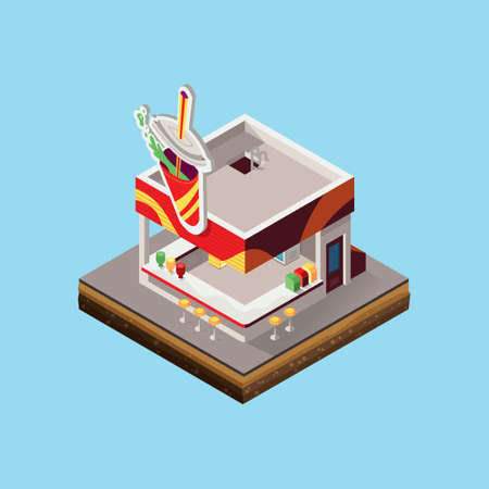 soft drink: Isometric of soft drink shop store