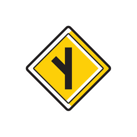acute angle: Side road at an acute angle sign Illustration