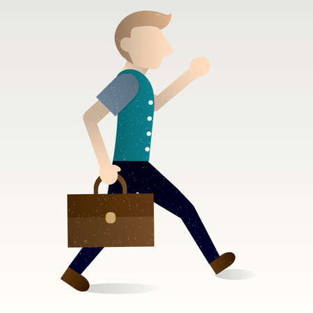 hurrying: Man holding briefcase Illustration