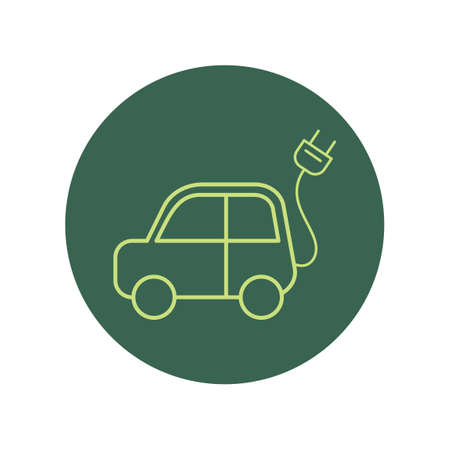 wire pin: Car with power plug Illustration