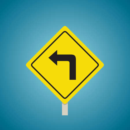 turn yellow: Turn left sign Illustration