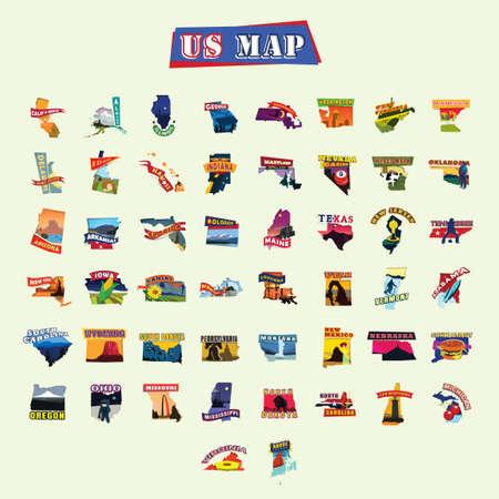 アメリカ合衆国地図  イラスト・ベクター素材