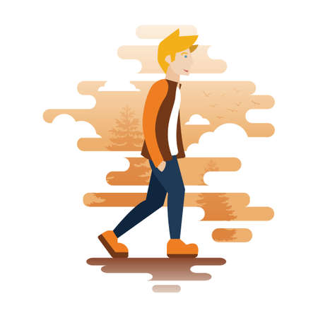hands in: Boy walking with hands in his pocket Illustration