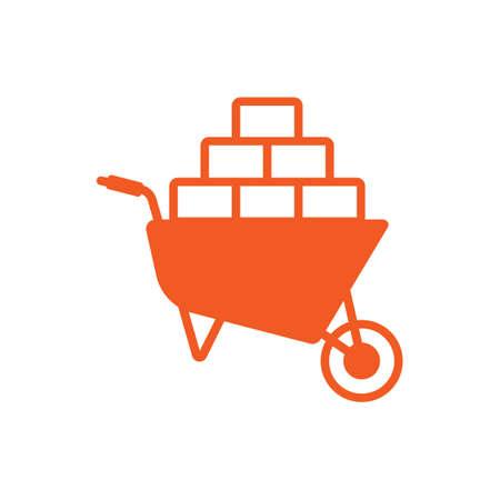 Wheelbarrow with bricks icon