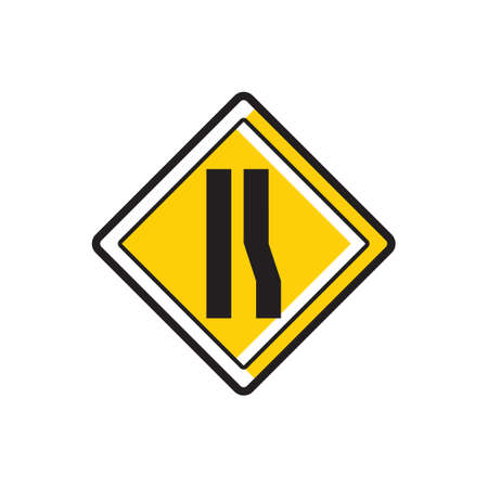 narrows: Road narrows on right sign Illustration