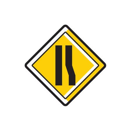 narrows: Road narrows on right sign Illustration