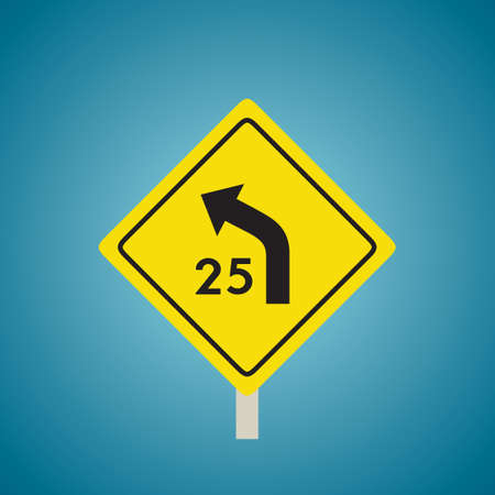 slow lane: Left curve with advisory speed sign