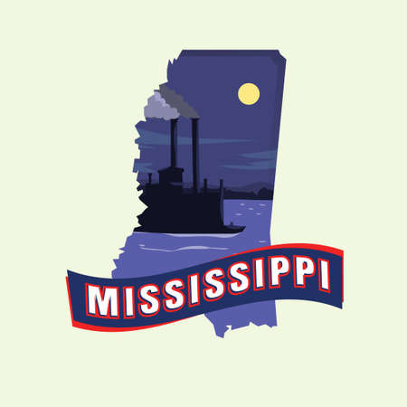 Mississippi map Stock Vector - 43309978
