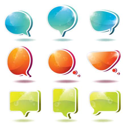 burbujas de pensamiento: Colecci�n de tres globos de texto dimensionales y burbujas de pensamiento