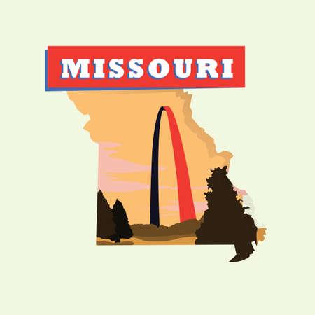 missouri: Missouri map Illustration