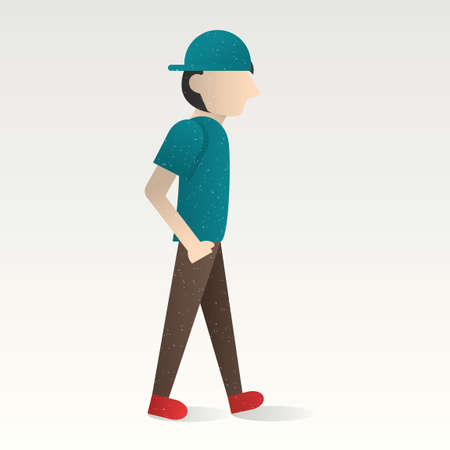 hands in: Boy walking with hand in his pocket