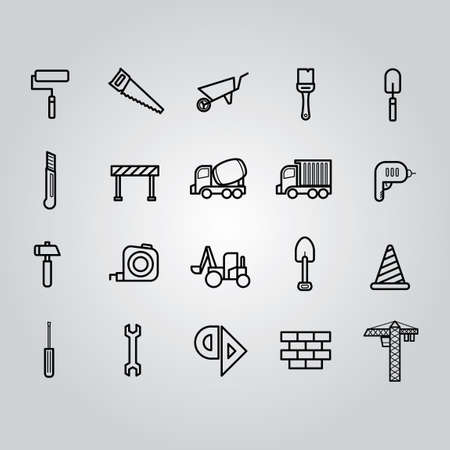 barrier tape: Set of construction icons Illustration