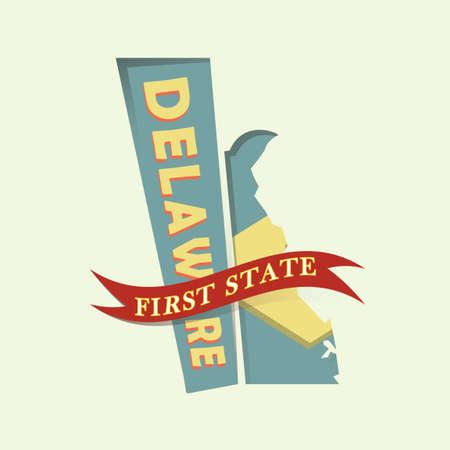 delaware: Delaware map Illustration