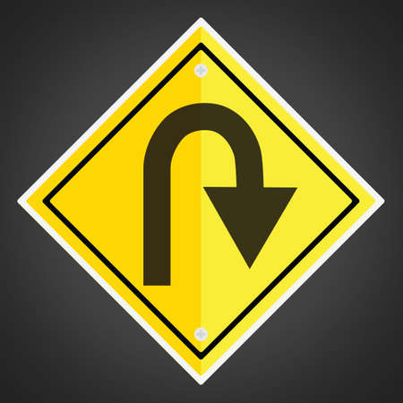hairpin: Right hairpin curve sign