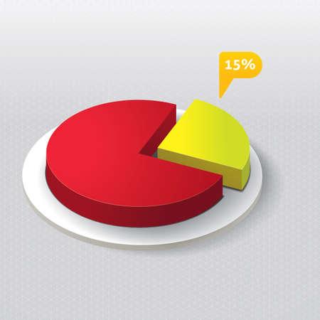 3 dimensional: Three dimensional pie chart Illustration