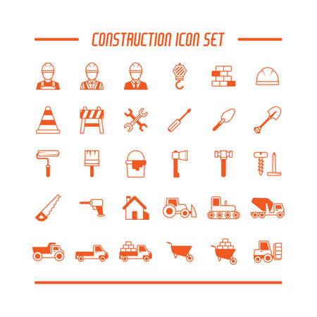 cement chimney: Set of construction icons Illustration